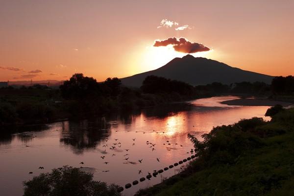 藤崎町で見る岩木山