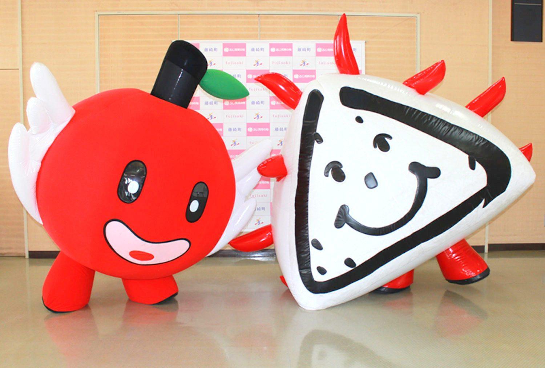 藤崎町キャラクター・ふじ丸くん(左)とジャン坊くん(右)